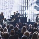 Inductees Joan Jett and the Blackhearts perform with Dave Grohl onstage during the 30th Annual Rock And Roll Hall Of Fame Induction Ceremony at Public Hall on April 18, 2015 in Cleveland, Ohio.