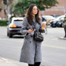 Jessica Gomes in Grey Long Coat – Out in LA - 454 x 605