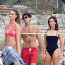 Nina Dobrev in Black Swimsuit – Playing Beach Volleyball in Malibu