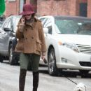 Olivia Palermo: walking her dog on a snowy day in New York City