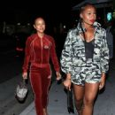 Karrueche Tran wears a Velvet Red Track suit in Beverly Hills - 454 x 615
