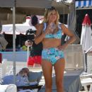 Sophie Monk in Blue Bikini on a beach in Portofino