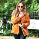 Caroline Flack with her dog out in London - 454 x 821