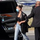 Hailey Bieber – On a Private Jet arrives back in LA