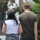 Ariel Winter in Jeans Shorts with Levi Meaden out in Studio City