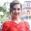 Alison Brie in Red Dress – Leaving the Bowery Hotel in NY