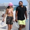Chantel Jeffries in Pink Bikini on the beach in Miami