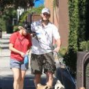 Anna Faris and Chris Pratt walking their three dogs out in Reseda, CA (August 27)