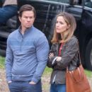 Rose Byrne and Mark Wahlberg on the set of 'Instant Family' in Atlanta
