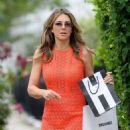 Elizabeth Hurley in Mini Dress Leaves Her Home in London - 454 x 642