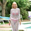 Kristin Chenoweth in Red Bikini on the pool in Beverly Hills - 454 x 681