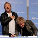 Robert Plant and Roger Daltrey pose at a press conference to announce the Daltrey/Townsend Teen & Young Adult Cancer Program at UCLA on November 4, 2011 in Los Angeles, California - 454 x 352