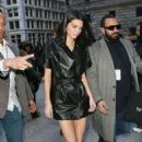 Kendall Jenner in Leather Mini Dress – Arrives at Long Champs Fashion Show in NYC