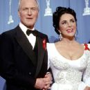 Paul Newman and Elizabeth Taylor during The 64th Annual Academy Awards (1992)