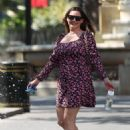 Kelly Brook – Wearing florall summer dress at Heart Radio in London