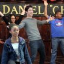 Nick Jonas visited General D. Chappie James Middle School of Science and Dr. Gladstone H. Atwell Middle School 61 as part of the Shubert Foundation/MTI Broadway Junior Program event yesterday, April 27, in New York City