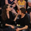 Phoebe Tonkin and Paul Wesley at LA Lakers game