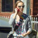 Natalie Portman in Flower Print Jumpsuit – Leaving a business meeting in Silver Lake