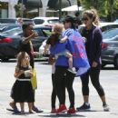 Kourtney Kardashian and her kids Penelope and Reign spotted out for lunch at Corner Bakery with some friends in Calabasas, California on June 13, 2016 - 454 x 494