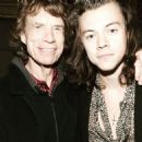 Musician Mick Jagger and Musician Harry Styles of One Direction attend The Rolling Stones Los Angeles Club Show after party at The Fonda Theatre on May 20, 2015 in Los Angeles, California