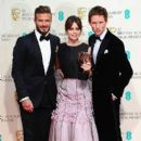 David Beckham, Felicity Jones and Eddie Redmayne - The EE British Academy Film Awards - Press Room (2015)