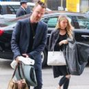 Aaron Paul and his wife Lauren Parsekian are seen arriving at The Bowery Hotel in New York City, New York on March 31, 2016 - 405 x 600