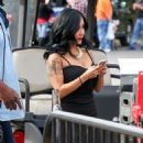 Nicole 'Snooki' Polizzi stop by the 'Extra' set January 26,2015