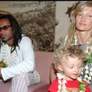Yannick Noah and Isabelle Camus with son