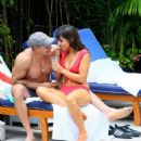 Roxanne Pallett and boyfriend Jason Carrion were seen at a pool party in Manhattan - 454 x 596