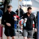 Hugh Jackman leaving a gym with his personal trainer in Sydney, Australia (July 19)