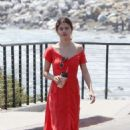 Selena Gomez in Red Long Dress out for a walk in Malibu - 454 x 682