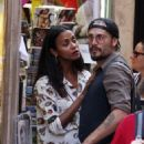 Zoe Saldana and Marco Perego – Shopping in Rome