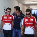(L-R) Ferrari reserver driver Pedro de la Rosa, Mark Webber of Australia and Infiniti Red Bull Racing and Fernando Alonso of Spain and Ferrari attend the drivers briefing following practice for the Hungarian Formula One Grand Prix at Hungaroring on July 2
