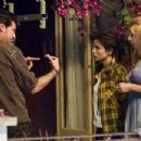 Director Julio Medem with Elena Anaya and Natasha Yarovenko on the set of Room in Rome.