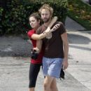 Nikki Reed and her husband Paul McDonald enjoying a romantic walk in Los Angeles (August 5)