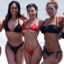 Kourtney Kardashian in Red Bikini at the beach in Tulum - 454 x 605