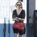 Eleanor Tomlinson in Polka Dot Mini Dress – Out in London - 454 x 775