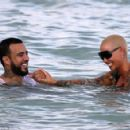 Amber Rose and French Montana on the beach in Miami, Florida - May 14, 2017 - 454 x 293