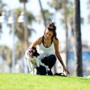 Nina Dobrev with Her Puppy Maverick at a Park in Los Angeles July 6, 2017 - 454 x 451