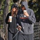 Mila Kunis and Ashton Kutcher: take their dog for a walk in Hollywood