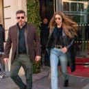 Gigi Hadid in Leather Jacket – Leaving the Royal Monceau hotel in Paris