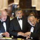 "JERRY WEINTRAUB as Denny Shields and GEORGE CLOONEY as Danny Ocean in Warner Bros. Pictures' and Village Roadshow Pictures' ""Ocean's Thirteen,"" distributed by Warner Bros. Pictures. The film also stars Brad Pitt, Matt Damon,"
