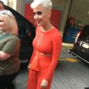 Katy Perry in a red outfit as she meets fans in Sydney