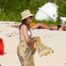 Melissa George – In white bikini on the beach in St. Barts - 454 x 681