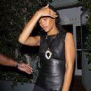 Rihanna shields her eyes from camera flashes as she leaves Il Ristorante di Giorgio Baldi - 418 x 594