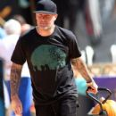 Musician Fred Durst seen taking his son Dallas Durst to get some pumpkins for Halloween in Beverly Hills