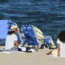 Solange Knowles in Denim Shorts at the Beach in The Hamptons - 454 x 307