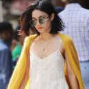 Vanessa Hudgens In Long Dress Leaving Her Apartment In Soho