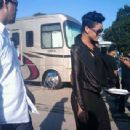 "Amber Rose, Kanye West, Rihanna and Jay Z on The Set of ""Run This Town"" in Queens, New York - August 6, 2009"