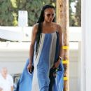 Melanie Brown – Wearing a white and blue summer dress in Los Angeles - 454 x 658